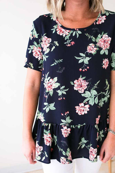 Tops Abloom Navy Floral Ruffle Blouse - Lotus Boutique