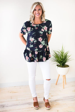 Abloom Navy Floral Ruffle Blouse