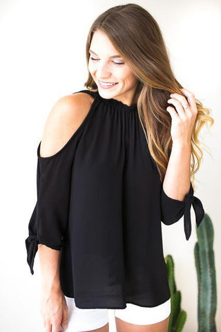 Toast to Life Cold Shoulder Black Top