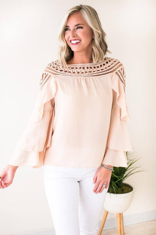 New Women Ornamental Lace Blouse - Taupe