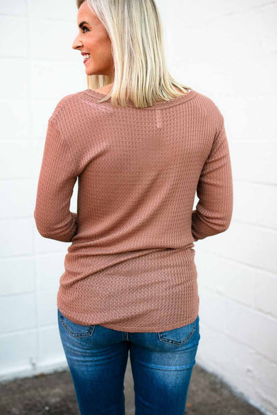 Tops Honey Roasted Thermal Button Top in Rust - Lotus Boutique