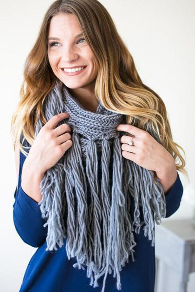 Accessories Grey Street Long Fringe Scarf - Lotus Boutique