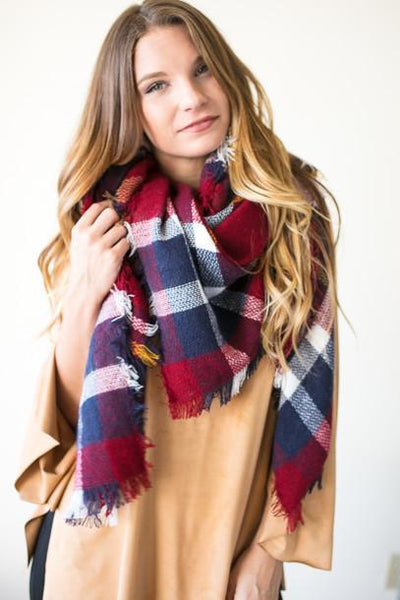 Accessories Call This Tartan Plaid Blanket Scarf - Lotus Boutique