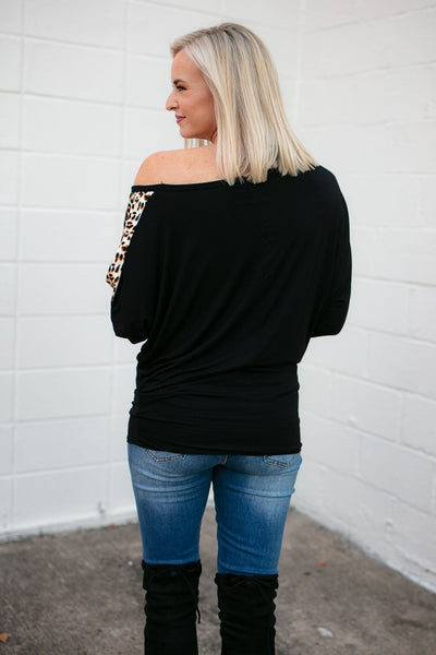 Black Off Shoulder Animal Print Top