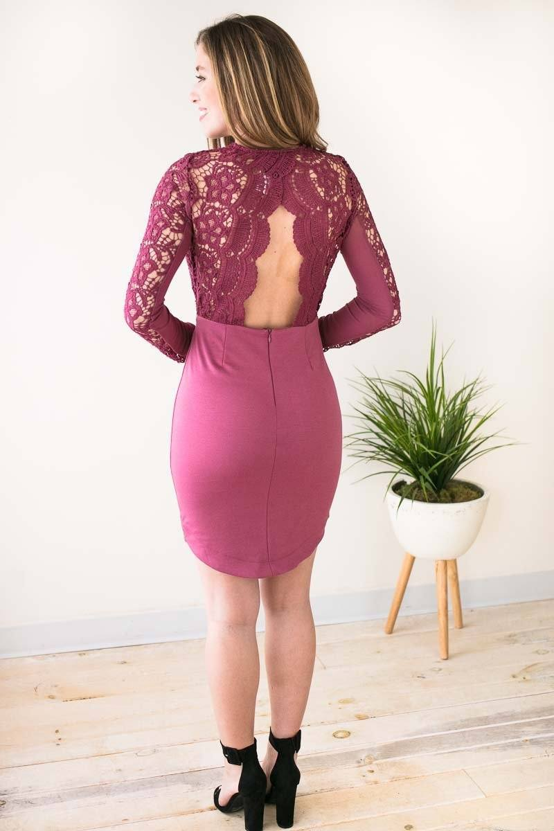 Dresses Sips of Sangria Lace Detail Bodycon Dress - Lotus Boutique