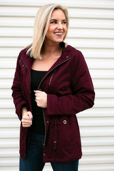Outer Wear Ace Fur Lined Utility Jacket in Mulberry - Lotus Boutique