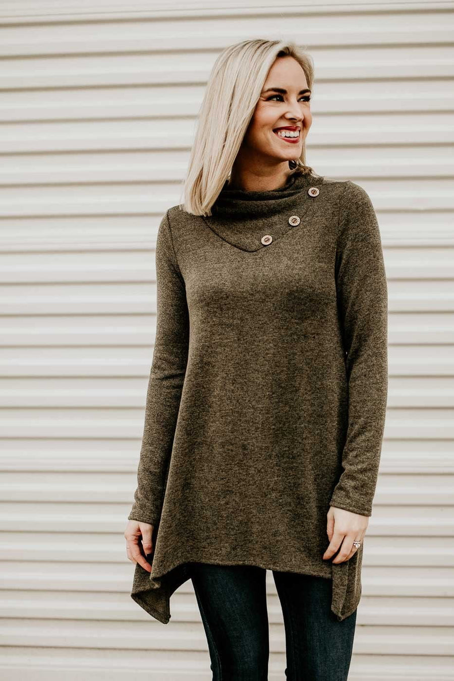 Tops Button Me Up Olive Button Detail Tunic - Lotus Boutique