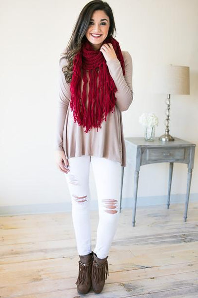 Accessories Solid Brick Long Fringe Scarf - Lotus Boutique