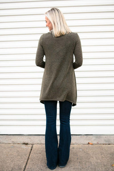 Olive Button Knit Tunic