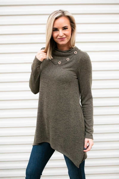 Button Detail Olive Tunic