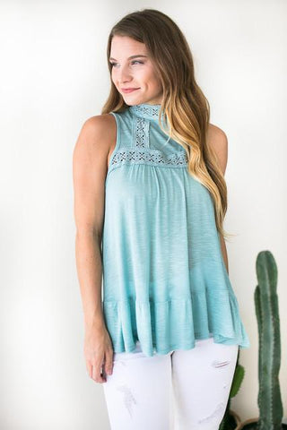 Roman Sky Lace Sleeveless Top