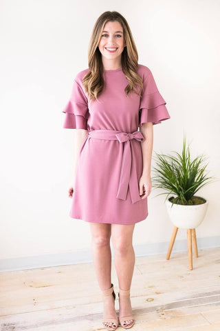Soul Sister Ruffle Sleeve Mauve Dress