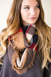 True Colors Plaid Fringe Infinity Scarf