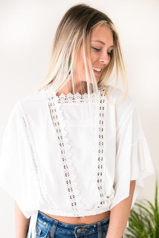 Kiss the Sky Cropped Blouse with Eyelet Detail