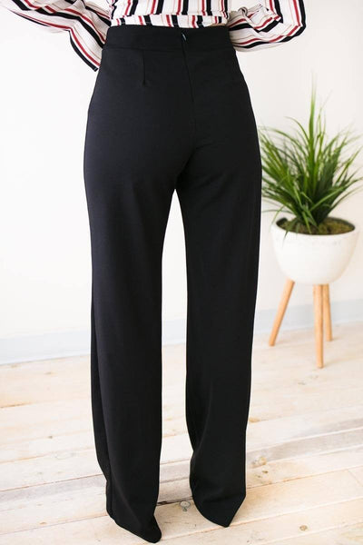 Bottoms Good Fortune High Waist Flare Leg Pants - Black  - Lotus Boutique