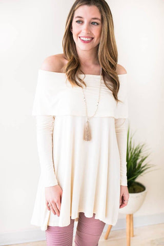 Look At Me Wow Off Shoulder Tunic - Cream