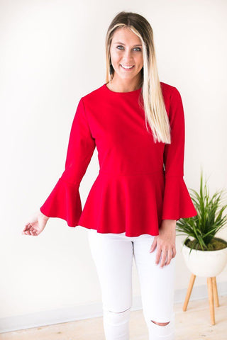 Girls Like You Peplum Bell Sleeve Top - Red