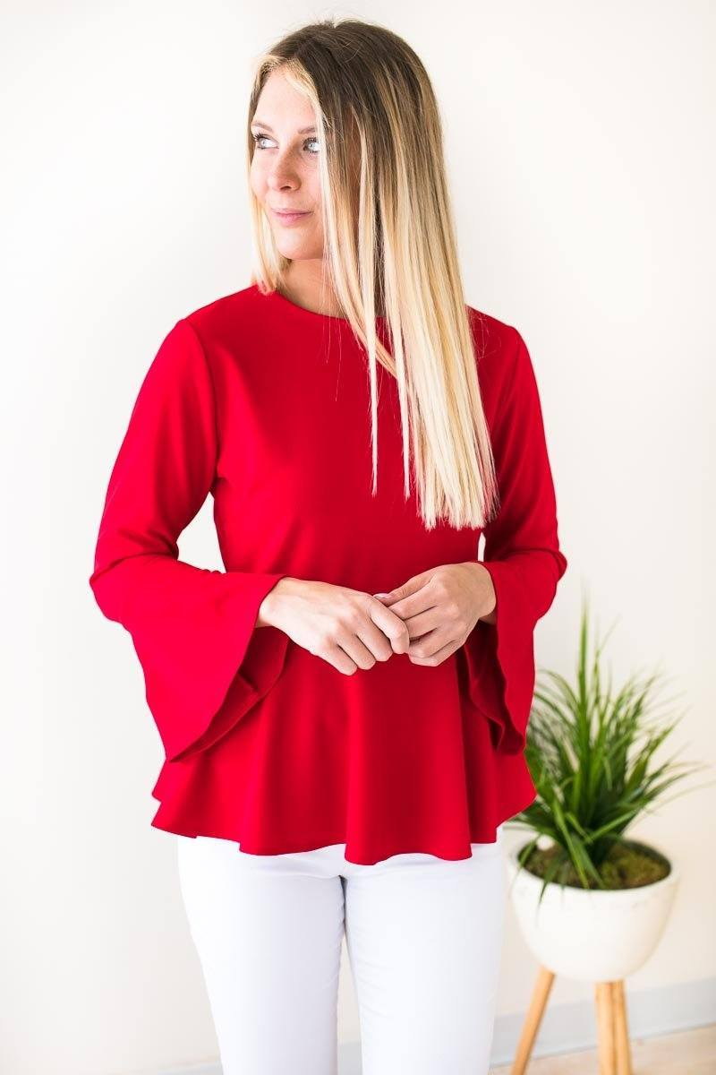 Tops Girls Like You Peplum Bell Sleeve Top - Red - Lotus Boutique