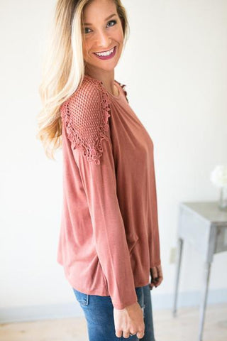 Fairlane Crochet Shoulder Top - Rust