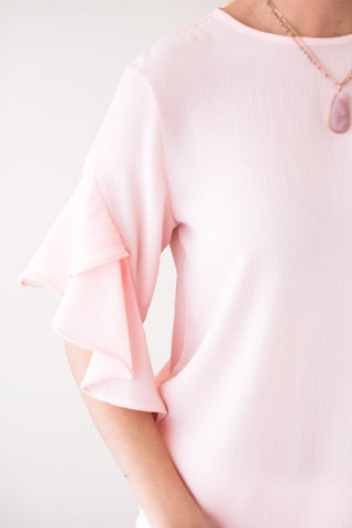 God's Plan Tulip Sleeve Blouse - Light Pink