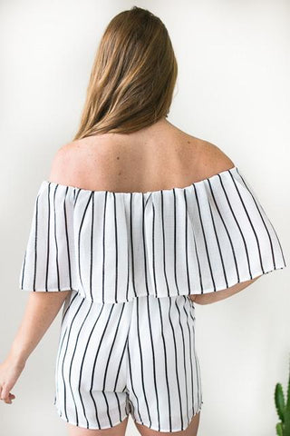 One Way Street Stripe Off Shoulder Romper