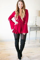 Little Red Long Sleeve Romper