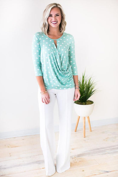 Tops Always Crossed Mint Polka Dot Top - Lotus Boutique
