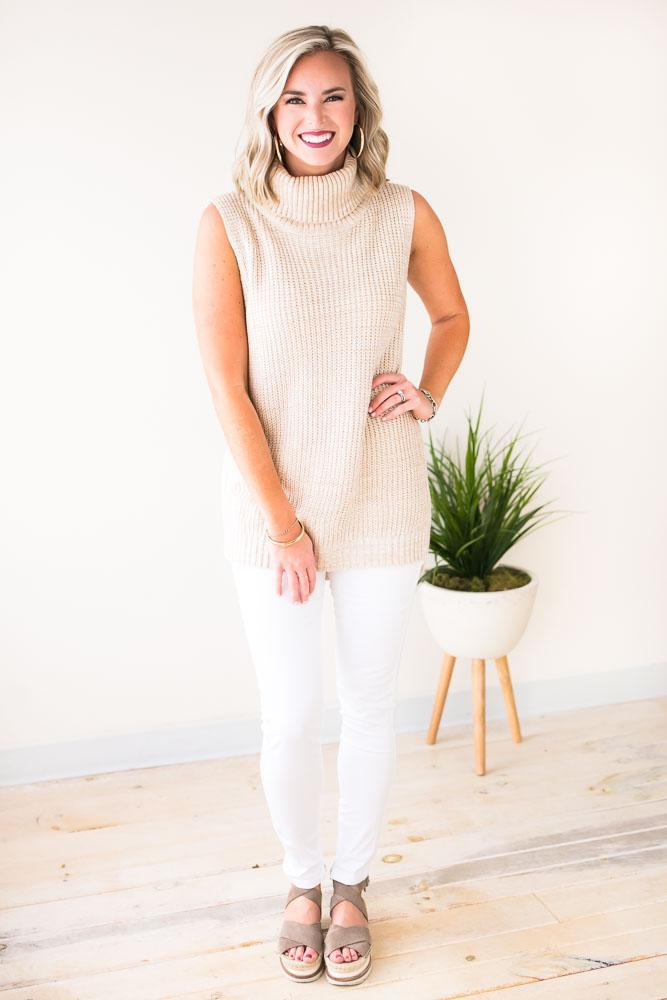 All Your Love Turtle Neck Sleeveless Sweater-Tops-Lotus Boutique-Lotus Boutique