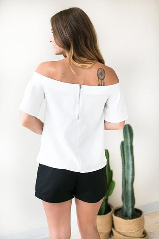 Here and Now White Off Shoulder Top