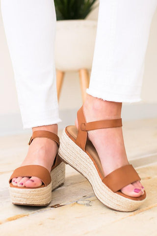 Hidden Truth Tan Platform Sandals