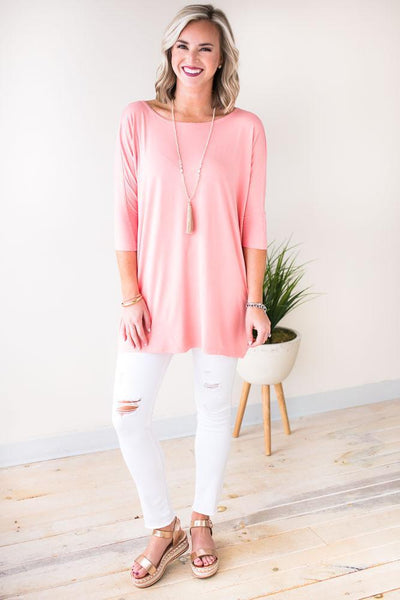 Tops Mass Appeal Bamboo Tunic - Peach - Lotus Boutique