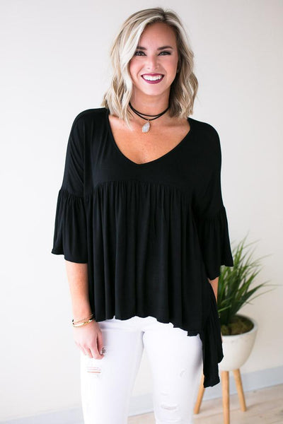 Tops Collide Black Asymmetric Hem Top  - Lotus Boutique