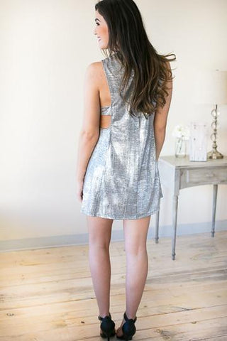 Shake and Shimmer Silver Cutout Dress