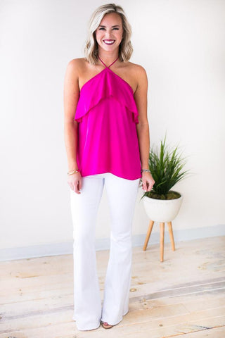 Moving on to Summer Halter Ruffle Top - Fuchsia