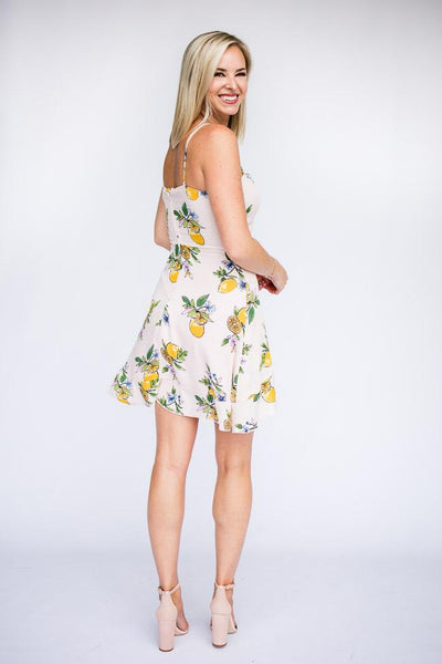 Dresses Lemon Remix Wrap Ruffle Bottom Dress - Lotus Boutique