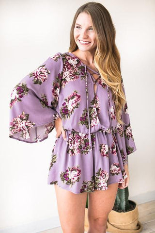 Let's Stay Together Purple Floral Romper