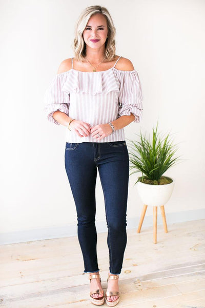 Tops Sucker for Stripes Off the Shoulder Top - Lotus Boutique