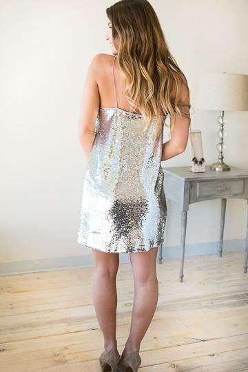 Dresses Night On Fire Silver Sequin Dress - Lotus Boutique