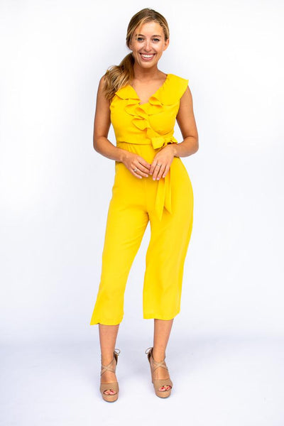 Jumpsuits Keep Your Guard Up Ruffle Jumpsuit in Mustard - Lotus Boutique