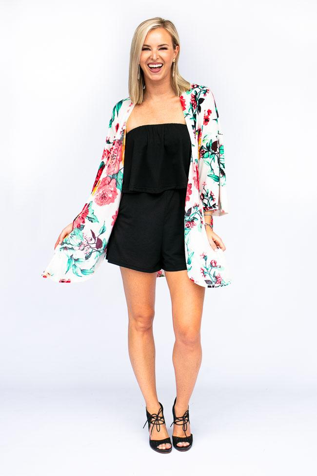 Tops With A View Side Slit Floral Kimono - Lotus Boutique
