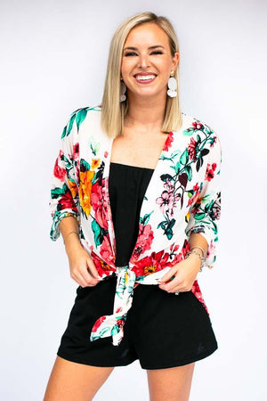 Floral Kimono With Side Slits