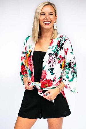 Floral Kimono - Can Tie Up