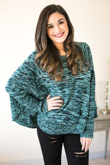 Shades Of Blue Poncho Sweater