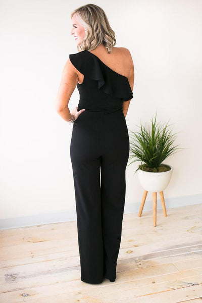 Playsuits More Fun One Shoulder Ruffle Jumpsuit - Lotus Boutique