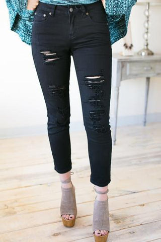 Distressed to Impress Black Jeans