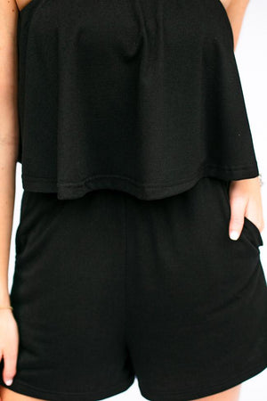 Strapless Black Pocket Romper