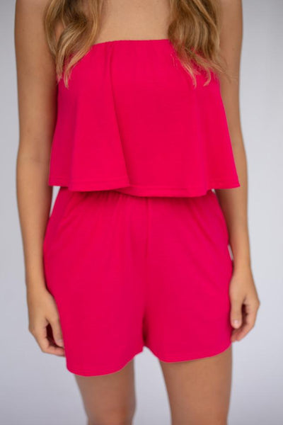 Rompers Nonstop Comfort Strapless Romper in Fuchsia - Lotus Boutique
