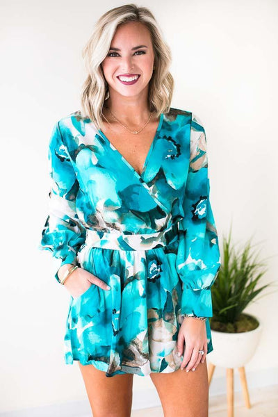 Blue Watercolor Romper