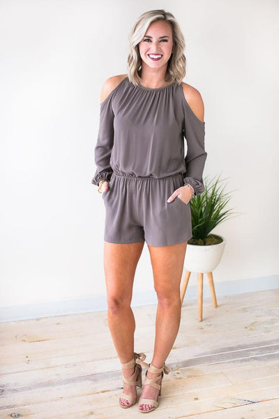 Playsuits The World On Your Shoulders Pocket Romper - Mushroom - Lotus Boutique