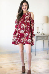 Alluring Vines Cold Shoulder Ruffle Dress - Wine